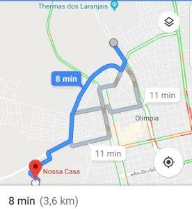 Localização da casa em Olímpia